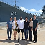 The cast of Battleship traveled to Hawaii for the junket.