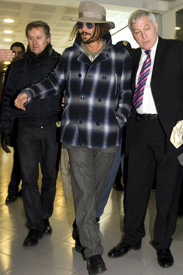 Pictures of Johnny Depp Arriving in Rome For The Tourist Premiere