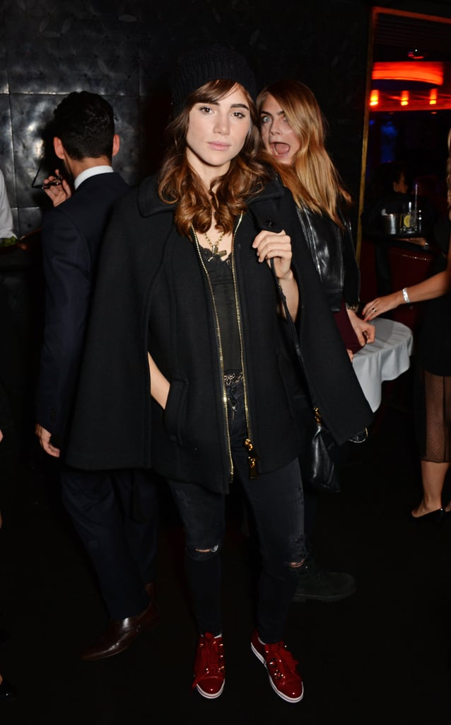 Suki Waterhouse debuted a new brunette hairstyle on Saturday when she joined friend Cara Delevingne at a concert in London. The two models hit up the Dover Street Arts Club to watch Lauryn Hill perform, but Suki's new brown locks were the real star of the show. The change is a recent one, as Suki was spotted with her trademark blond look just last Tuesday when she attended a fashion event in London. It's unclear if Suki's new 'do is for a modeling campaign or a new film role, but she did thank her hairdressers Jack Howard and Stephen Low when she shared a snap of her new look on Sunday morning. Hopefully the supermodel's boyfriend, Bradley Cooper, is a fan of the new look, as he's used to changing his own style while working on various film roles. Either way, the pair looked very happy when they joined Sienna Miller and Tom Sturridge on a double date in London earlier this month.