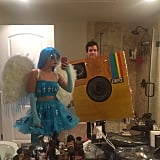 Lucy Hale fastened large wings to her costume.