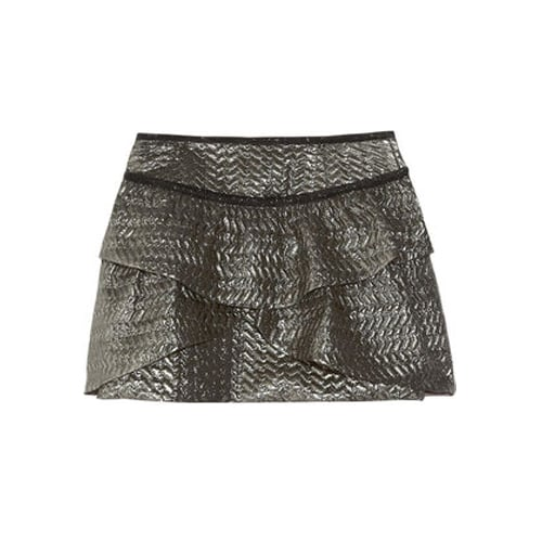 Dress up Isabel Marant's Bilbao Metallic Brocade Mini Skirt ($605) with an embellished sweater and ankle boots for a fun twist on partywear.