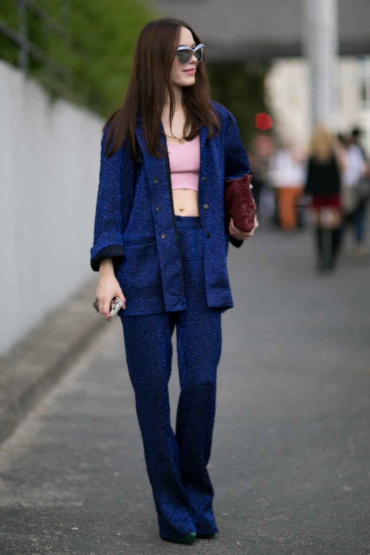 Some Serious Blue Suiting Turned Heads Outside The Shows Best Street Style Paris Fashion Week