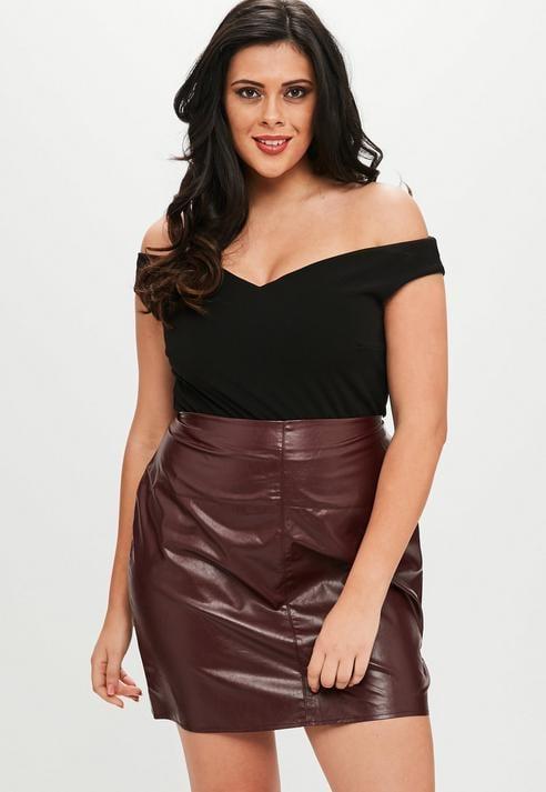 Missguided Curve Black Bardot Crepe Bodysuit