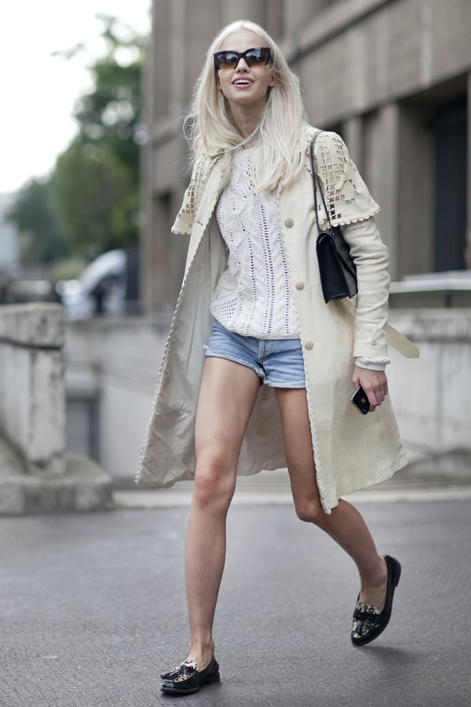 Cutoffs are ready for Fall with a chunky sweater and knee-length coat.