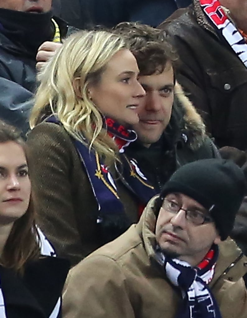 Joshua Jackson and Diane Kruger attended a soccer game between Germany and France in Paris.