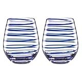 Kate Spade New York 863810 Charlotte Street Stemless Wine, Set of 2, Blue