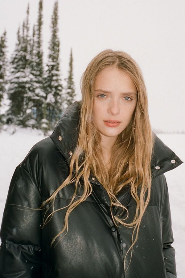UO Faux Leather Puffer Jacket
