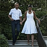 A crisp and casual halter-style dress was the perfect choice for Independence Day celebrations at the White House.