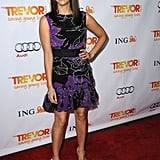 Rashida Jones went for bold color in a pretty black and purple party dress at Trevor Live.