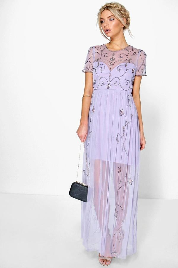 aef9157d50398 Boohoo Corine Boutique Embellished Maxi Dress | Lavender Trend ...