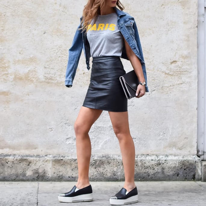 How to Style a Leather Skirt Ideas | POPSUGAR Fashion