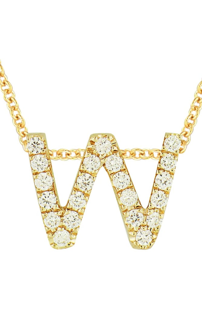 Bony Levy 18k Gold Pavé Diamond Initial Pendant Necklace