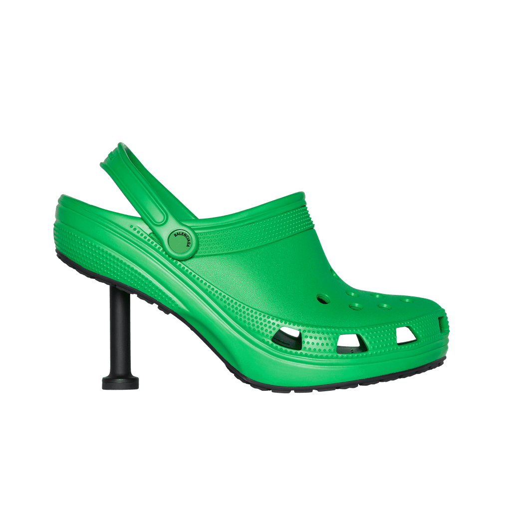If you thought the Balenciaga Platform Crocs of 2017 were um, unexpected, brace yourself for the brands' latest collaboration. The luxury fashion house recently debuted its spring 2022 collection featuring Balenciaga Crocs 2.0. This time, the popular clogs are in the form of heeled mules and chunky rain boots. And while the internet is unsurprisingly in an uproar over the collection, I have to admit, I'm intrigued. After all, those sky-high platform clogs sold out in pre-orders. I haven't worn Crocs since the fifth grade (and even then, I wore them, like, to the pool), so I have yet to jump on the resurgence, but the mules have certainly caught my attention. Sure, they're ugly, but so were dad sneakers and Birkenstocks, until society deemed them cool again. Personally, I'm envisioning the green stiletto as a statement shoe for summer, paired with ripped jeans and a simple graphic tee. I don't know if this is my post-pandemic fashion brain talking, but doesn't that sound kind of cute?  My main concern here isn't the aesthetic; it's practicality. Balenciaga managed to make the most sensible shoe . . . not sensible at all! Isn't the obsession with Crocs rooted in the fact that they're so damn comfortable?! On the other hand, the rain boots from the collection, which remind me of a Croc-ified Hunter boot, seem quite comfy and are actually very cute. But relax, everyone, I'm not ready to add Balenciaga Crocs to my cart just yet. Until the collaboration is available to purchase, I'll be studying the photos for a closer look. Check out close-ups and runway shots of the Crocs for yourself ahead.      Related:                                                                                                           10 Refreshing Ways to Style a Pair of Crocs at Home and Outside