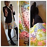 Suntarazu freshened up a staple blazer and tights with a flash of Spring florals.