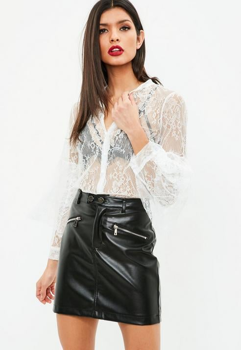 Missguided White Lace Flared Sleeve Shirt