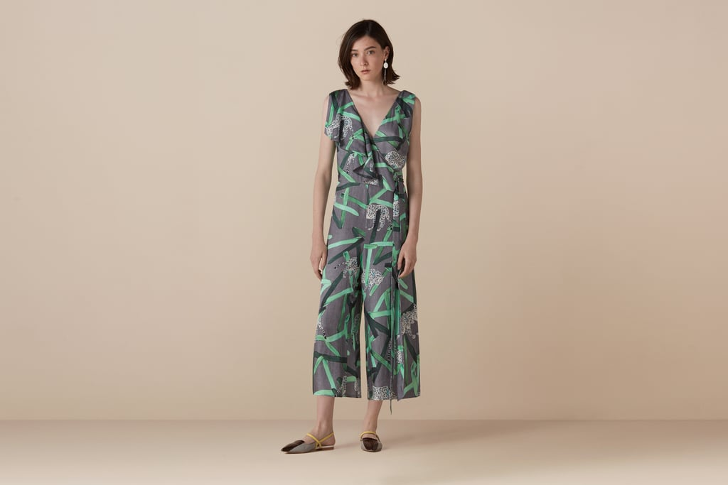 Finery Lumley Aztec Leopard Frill Wrap Jumpsuit (was £79, now £60)