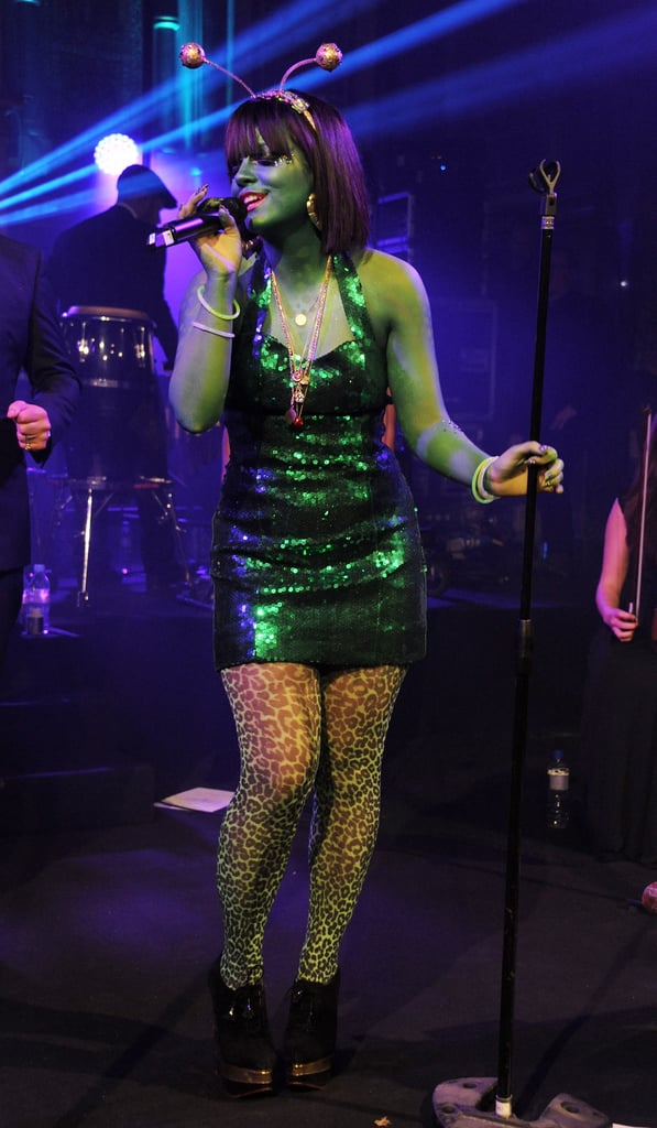 Lily Allen dressed up as an alien for the 2013 UNICEF UK Halloween Ball in London.