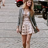 Serena van der Woodsen Wearing a Sequinned Caged Dress