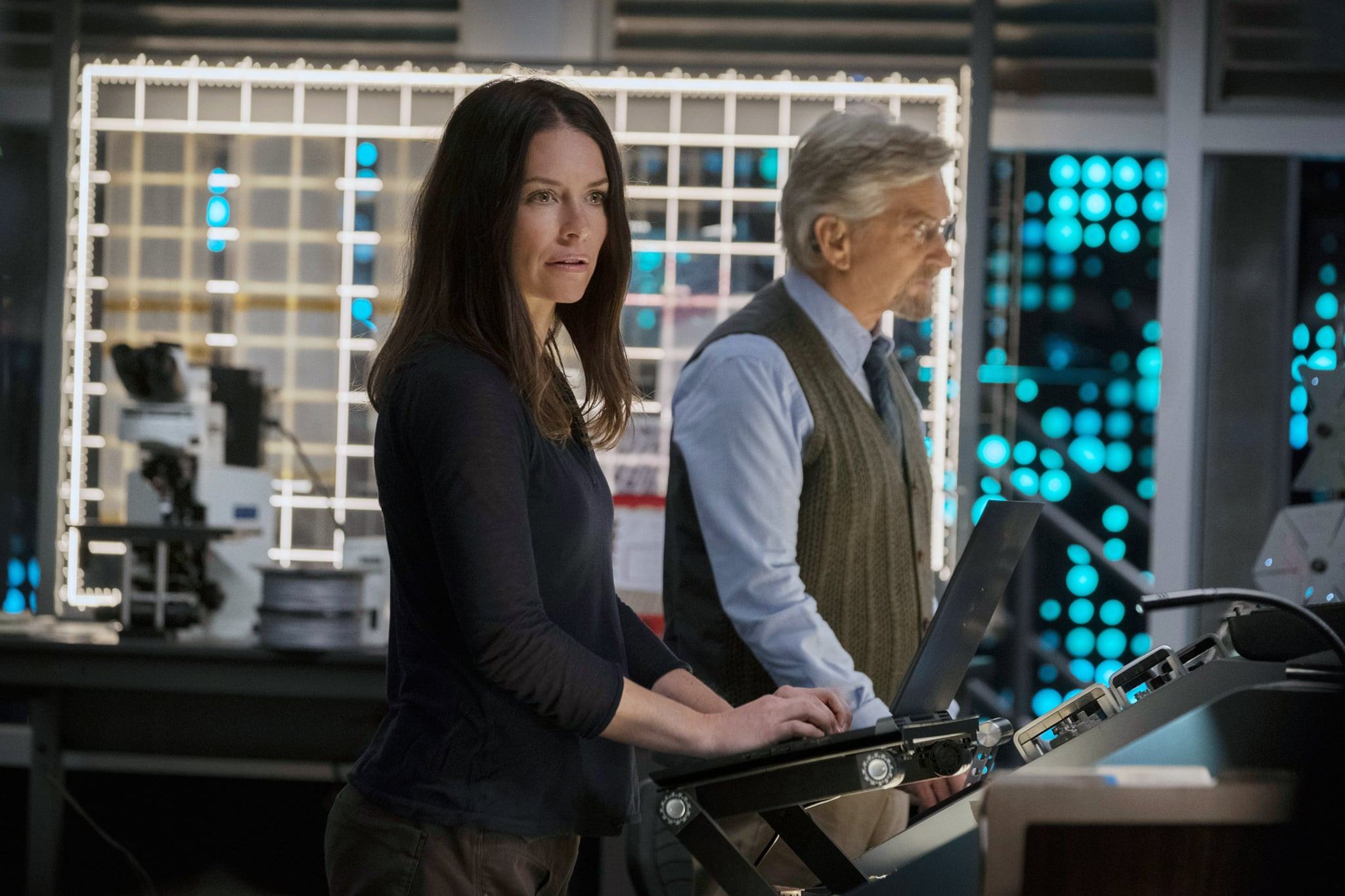 ANT-MAN AND THE WASP, from left: Evangeline Lilly, Michael Douglas, 2018. ph: Ben Rothstein / Marvel / Walt Disney Studios Motion Pictures /Courtesy Everett Collection