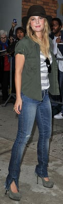 Drew Barrymore Wears Black Hat, Striped Tee, and YSL Pumps in NYC