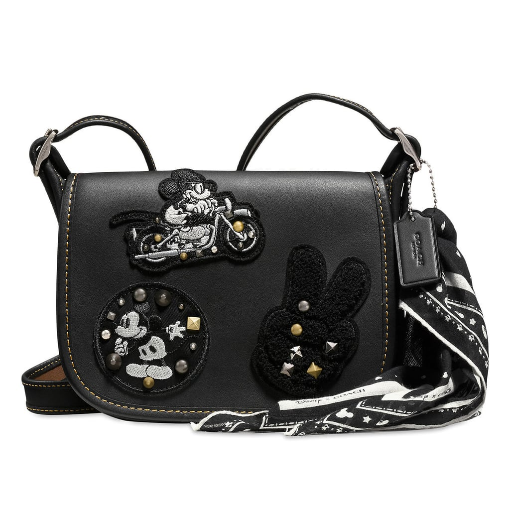 5ea82be0ac6 Mickey Mouse Patch Patricia Leather Saddle Bag by Coach — Black ( 280)