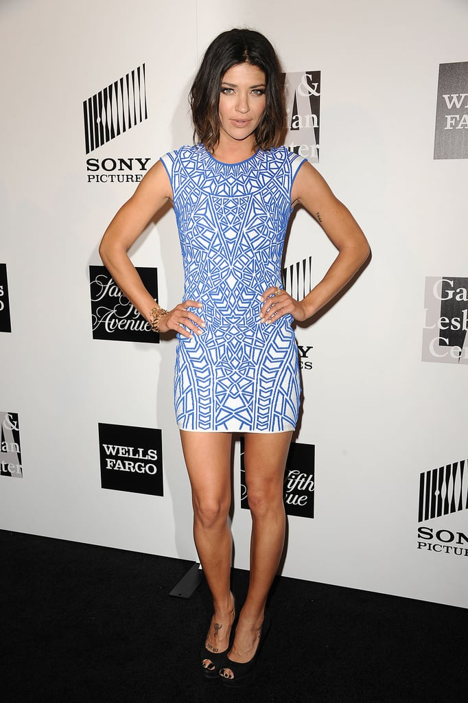 Jessica Szohr's blue-and-white printed minidress is a great way to show off your legs (and svelte figure). Add a white blazer to polish things up.