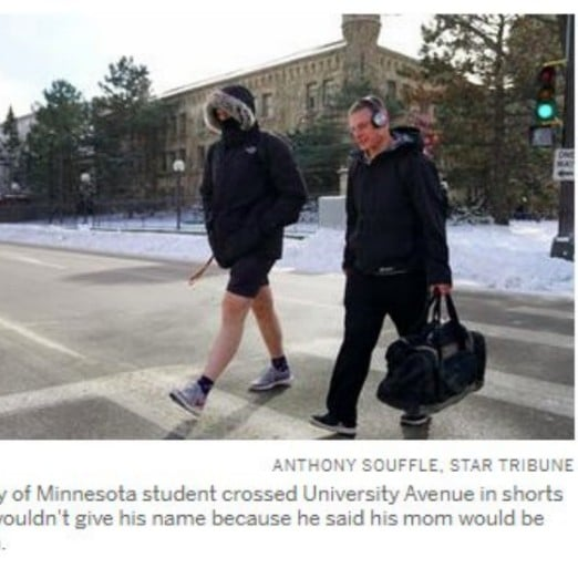 Photo of College Student Wearing Shorts in the Winter