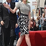 Scarlett Johansson waved to the crowd as she stepped out to accept the honor.