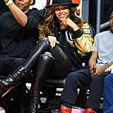 Beyoncé's Varsity Jacket Was Sporty Chic, but Where Was She Going in Those Platforms?