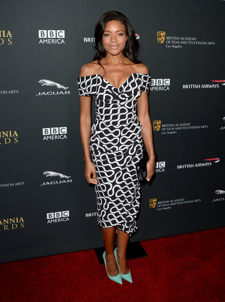 Naomie Harris wore a black-and-white dress on the red carpet.
