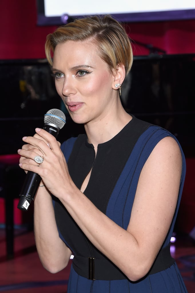 Yes, it's true — Scarlett Johansson is officially a married woman, and now we get a chance to look at her wedding ring. The actress flashed her band on Nov. 18 when she attended a Hurricane Sandy benefit with her twin brother, Hunter Johansson, in NYC. However, since there were no reports of Scarlett tying the knot with her then-fiancé, Romain Dauriac, the new addition to her ring finger went relatively unnoticed. (To be fair, it's hard to spot it under that massive engagement ring.) However, it has now been confirmed that Scarlett and Romain did indeed tie the knot in Philipsburg, MT, on Oct. 1. The pair kept their nuptials a secret for nearly two months, and they have yet to officially comment on the happy news. It's been a busy year for the couple, who welcomed their first daughter, Rose, in September.