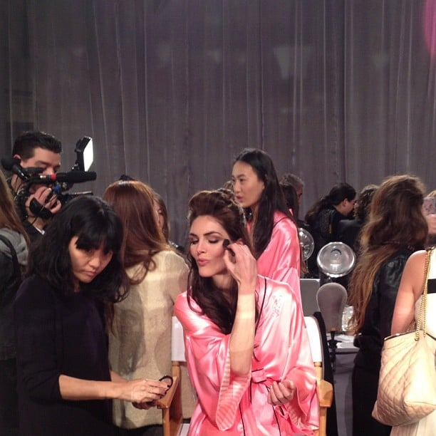 We got a sneak peek at Hilary Rhoda getting glam for the Victoria's Secret Fashion Show.