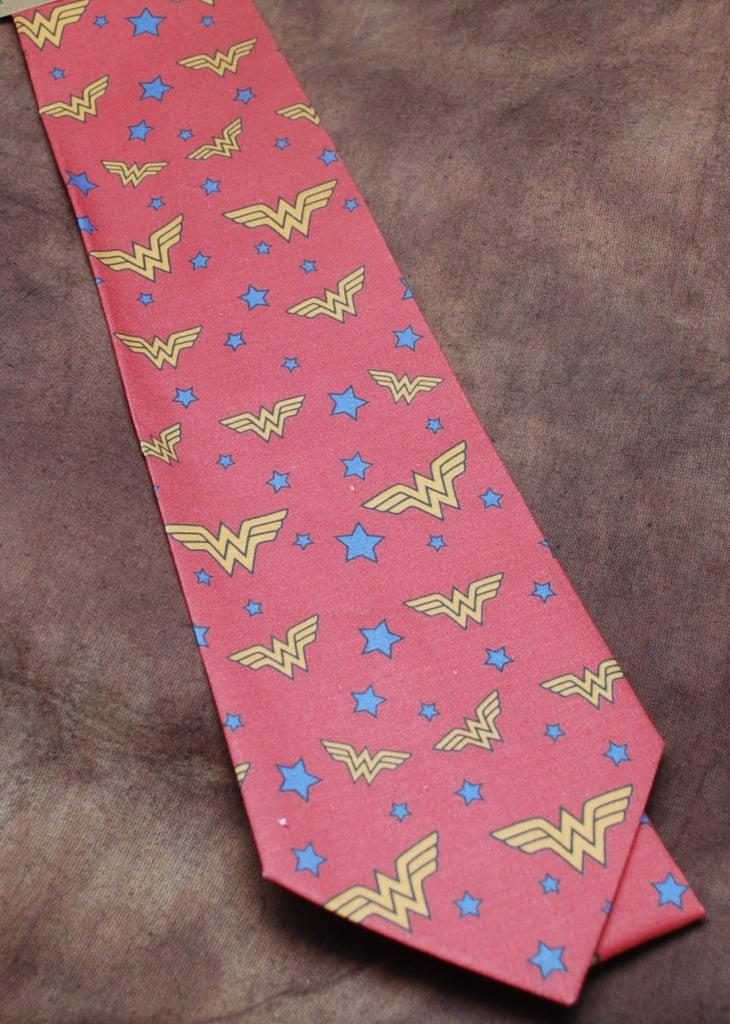 "<a href=""https://www.etsy.com/listing/174071804/vintish-wonder-woman-neck-tie"">Wonder Woman Tie</a> ($33)"
