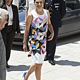 Crown Princess Victoria of Sweden wearing Preen.