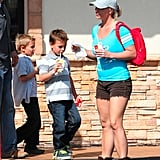 Britney Spears wore cutoffs and boots with her boys.