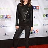 Olivia Wilde embraced the season with a pop of red on her Louboutins to liven up a leather jacket and slick black pants.