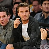David Beckham wore a leather jacket.