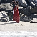 Pregnant Victoria Beckham on the beach in Malibu with David.