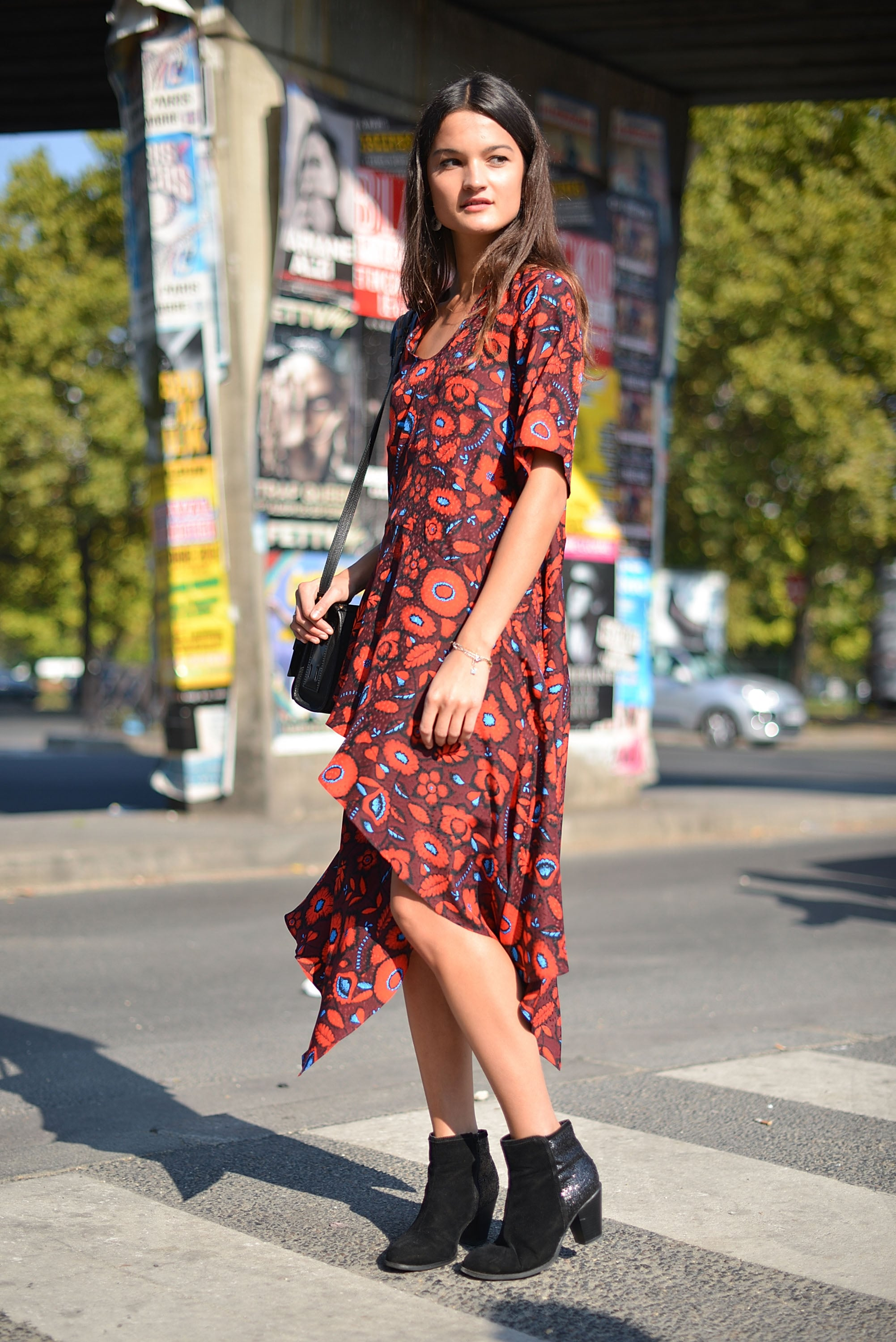 A '90s-inspired floral dress with ankle