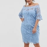 Paper Dolls Bardot Crochet Dress With Fluted Sleeve in Powder Blue