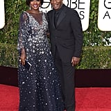 Viola Davis carried a black Judith Leiber clutch to the 2016 Golden Globe Awards.