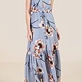Francesca's Chrissy Button Front Tie Waist Floral Maxi Dress