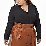 Plus-Size Faux Leather Mini Skirt