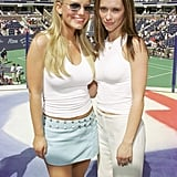 Jessica Simpson volunteered with Jennifer Love Hewitt in August 2000 at the US Open's Arthur Ashe Kids' Day.