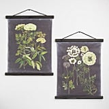 Black Botanical Linen Scroll Wall Hangings