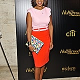 Gayle attended The Hollywood Reporter's 35 Most Powerful People event in her Antonio Berardi dress —but backwards. She played up the vibrancy with rainbow shoes.