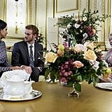 Murray Fraser, Parisa Fitz-Henley, and Maggie Sullivun as Prince Harry, Meghan Markle, and Queen Elizabeth II