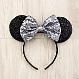 Silver and Black Sequin Minnie Ears ($11)