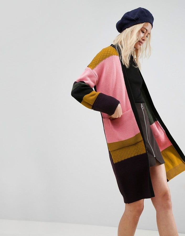 ASOS Cardigan in Maxi Length With Patchwork