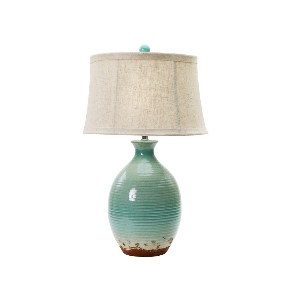 Ceramic Table Lamp in Ocean Spray Crackle ($143)